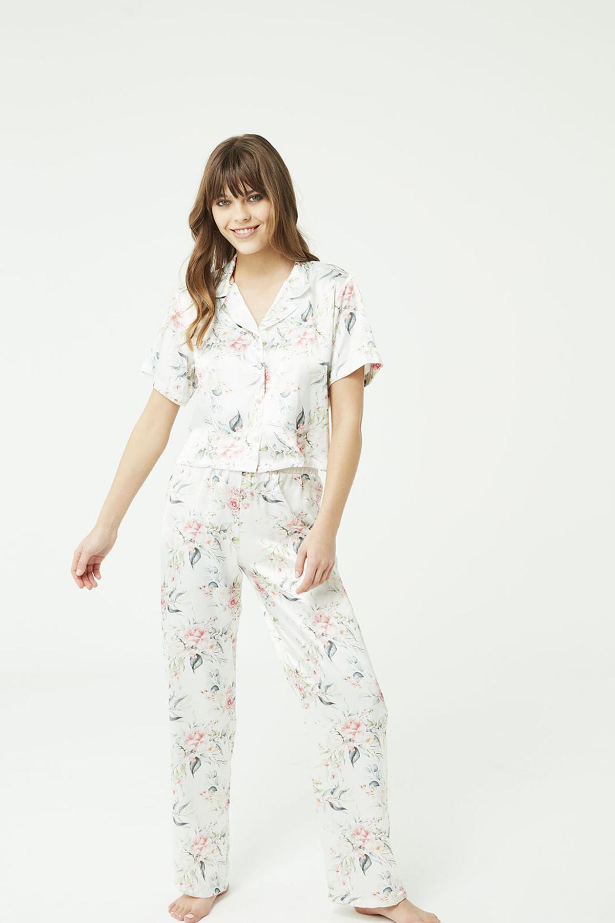 Ekru Somon Saten Gömlek Pijama Takımı